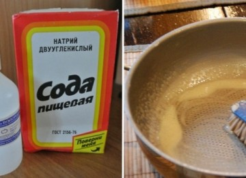 Сода и перекись водорода для чистки посуды