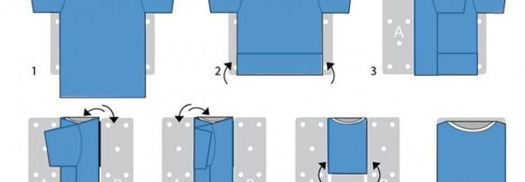 Как сложить футболку или рубашку, чтобы не помять