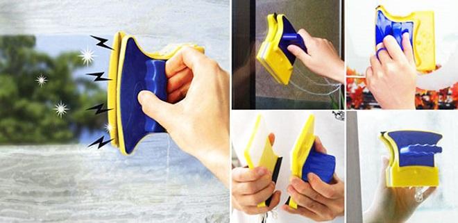 Как промывают окна снаружи и изнутри магнитными щетками