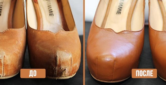 Как замазать царапину на кожаной обуви