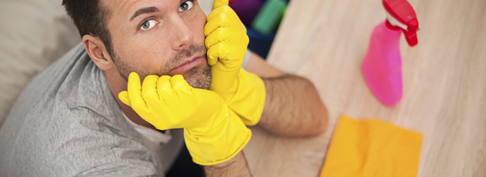 A Generic Photo of a man looking tired while in the middle of household chores. See PA Feature TOPICAL Housework. Picture credit should read: PA Photo/thinkstockphotos. WARNING: This picture must only be used to accompany PA Feature TOPICAL Housework.