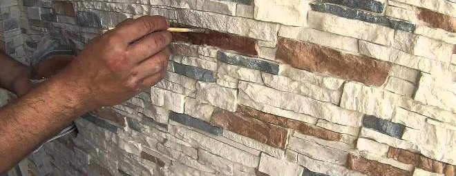 Как клеить декоративный камень из гипса