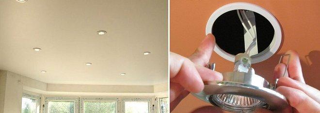 Как снять лампочку на натяжном потолке
